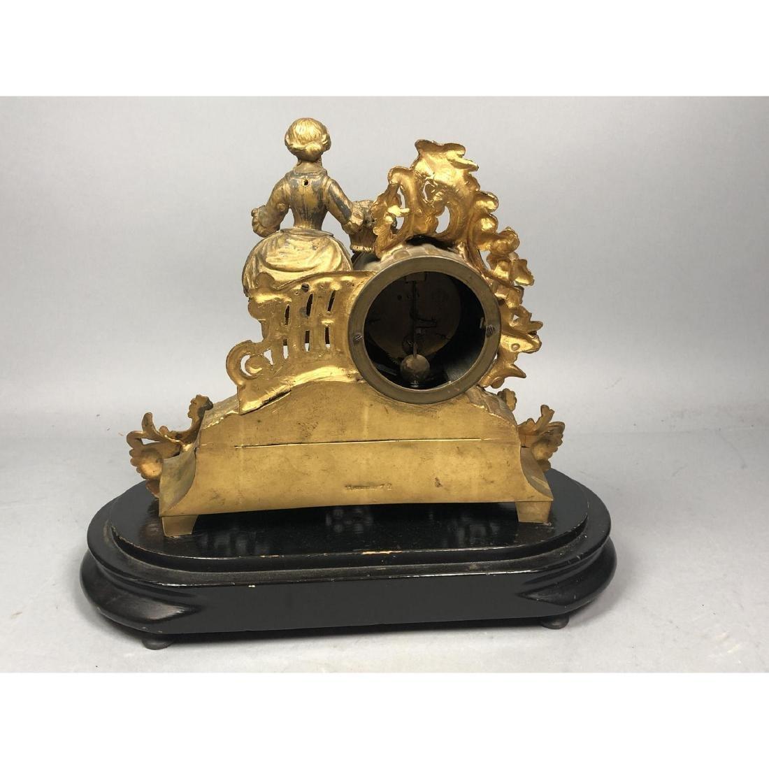 PH MOUREY Gilt Bronze Figural Table Mantle Clock. - 6