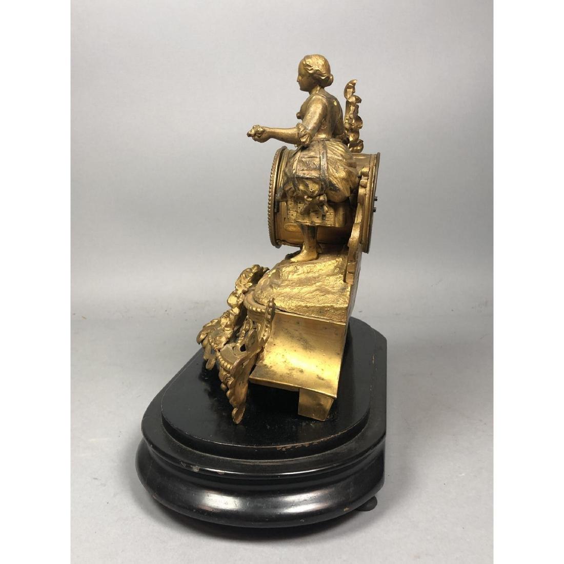 PH MOUREY Gilt Bronze Figural Table Mantle Clock. - 9