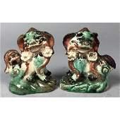 Pr Chinese Majolica Glazed Foo Dog Figurines Sma