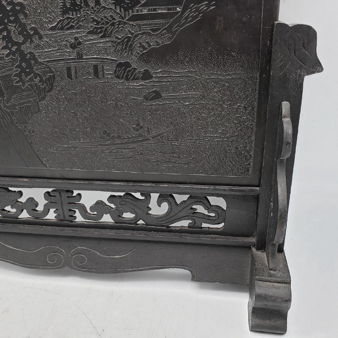 Carved Stone Chinese Plaque on Carved Wood Stand. - 10