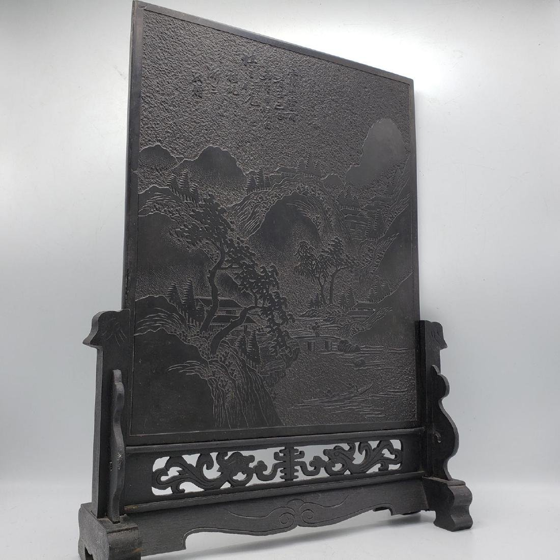 Carved Stone Chinese Plaque on Carved Wood Stand.