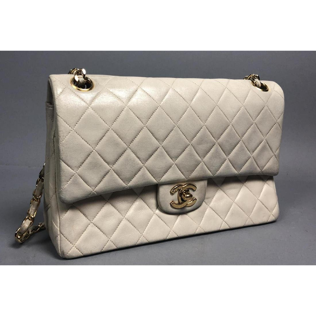 CHANEL Beige Leather Quilted Purse Hand Bag. Kid