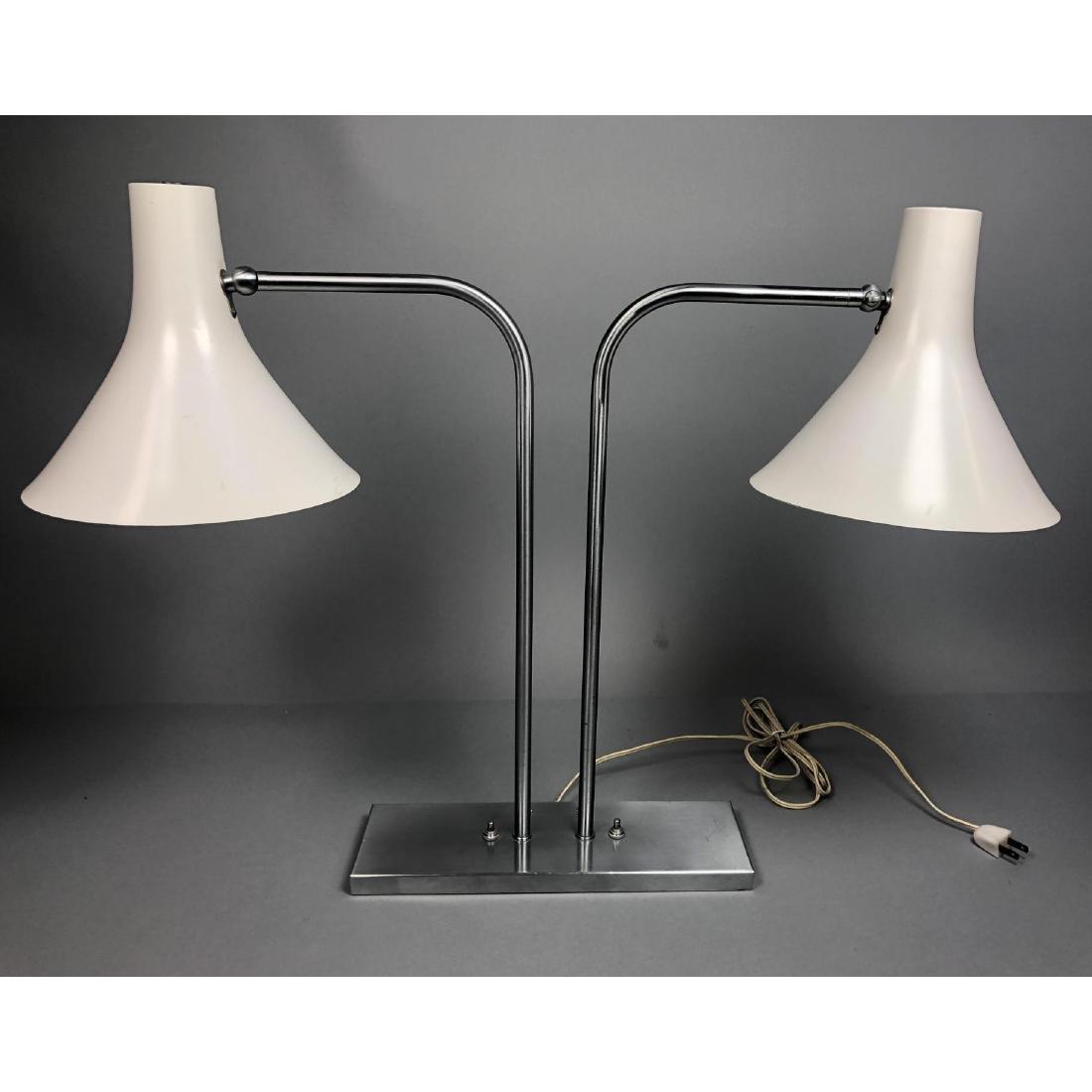 VON NESSEN Two Arm Modernist Desk Lamp. Stainless