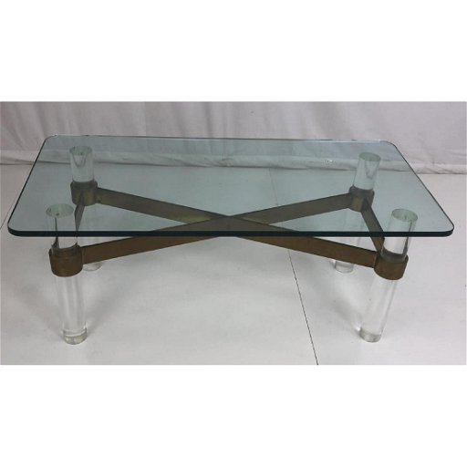 Karl Springer Attributed Coffee Table Lucite Gl