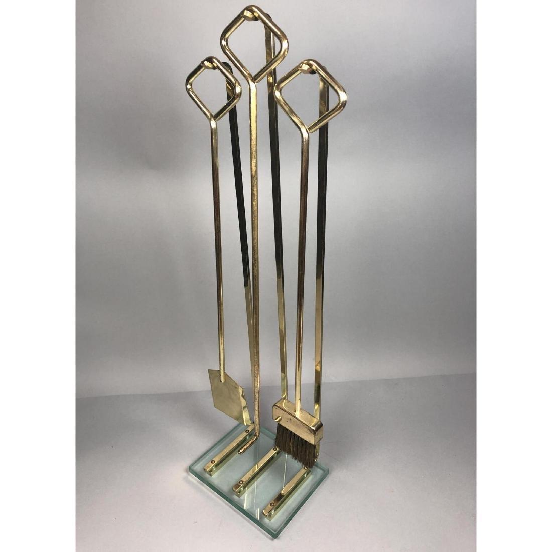 Modernist Brass & Glass Fireplace Fire Tools Set.