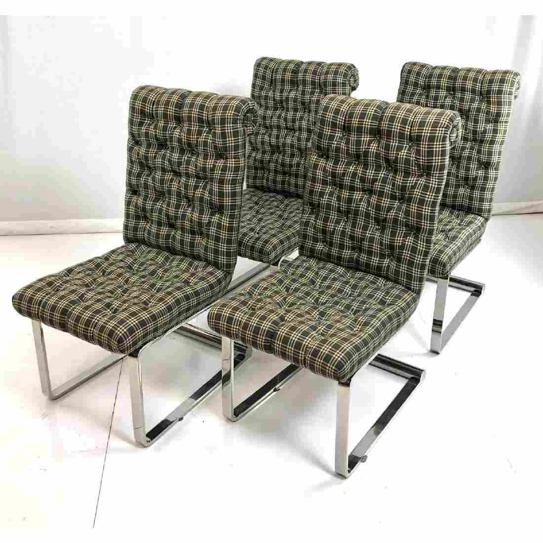 Set 4 Stainless Steel Tall Back Modernist Dining