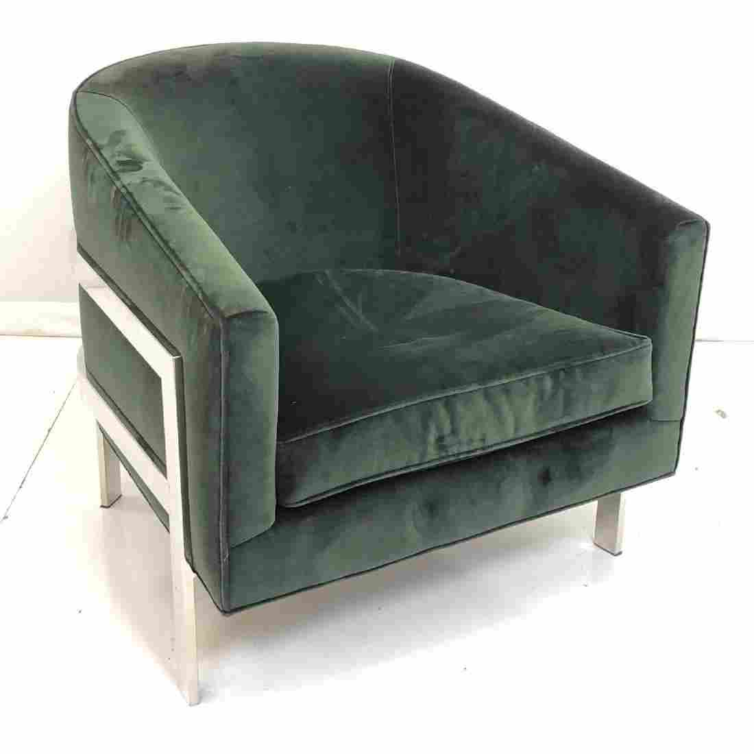 MITCHELL GOLD Contemporary Green Velvet Lounge Ch