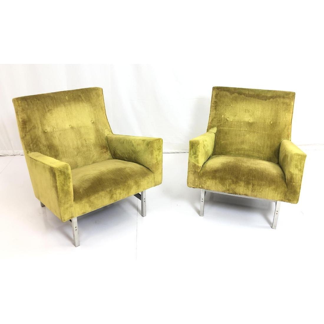 Pr JENS RISOM Modernist Lounge Chairs. Rare metal
