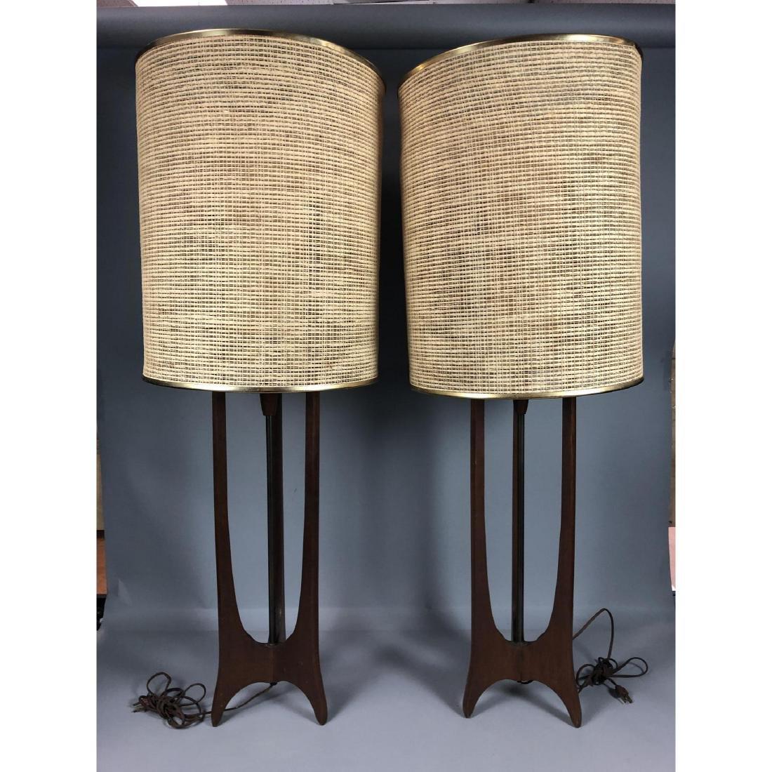 Pr MODELINE Walnut Brass Tall Table Lamps. 3 scul