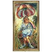 DAVID BURLIUK Impressionist Abstract Figural Painting.