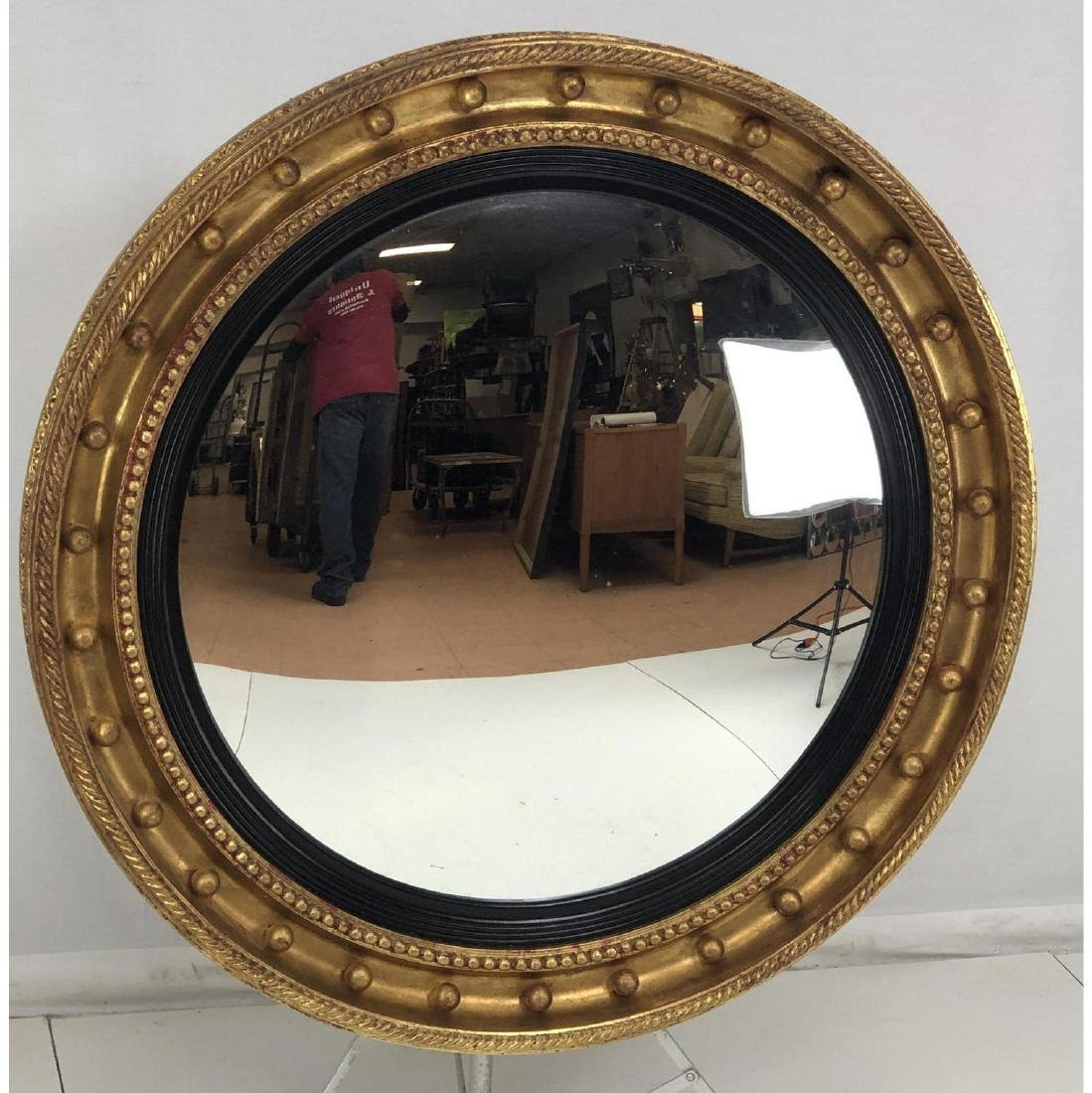 "Lg Gilt Carved Wood Decorator Round Mirror. 6"" wi"
