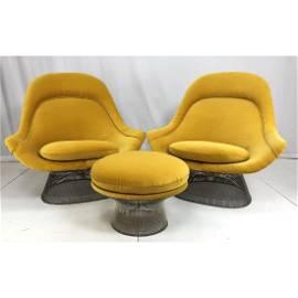 3pc WARREN PLATNER Lounge Chairs & Ottoman. 2 gol