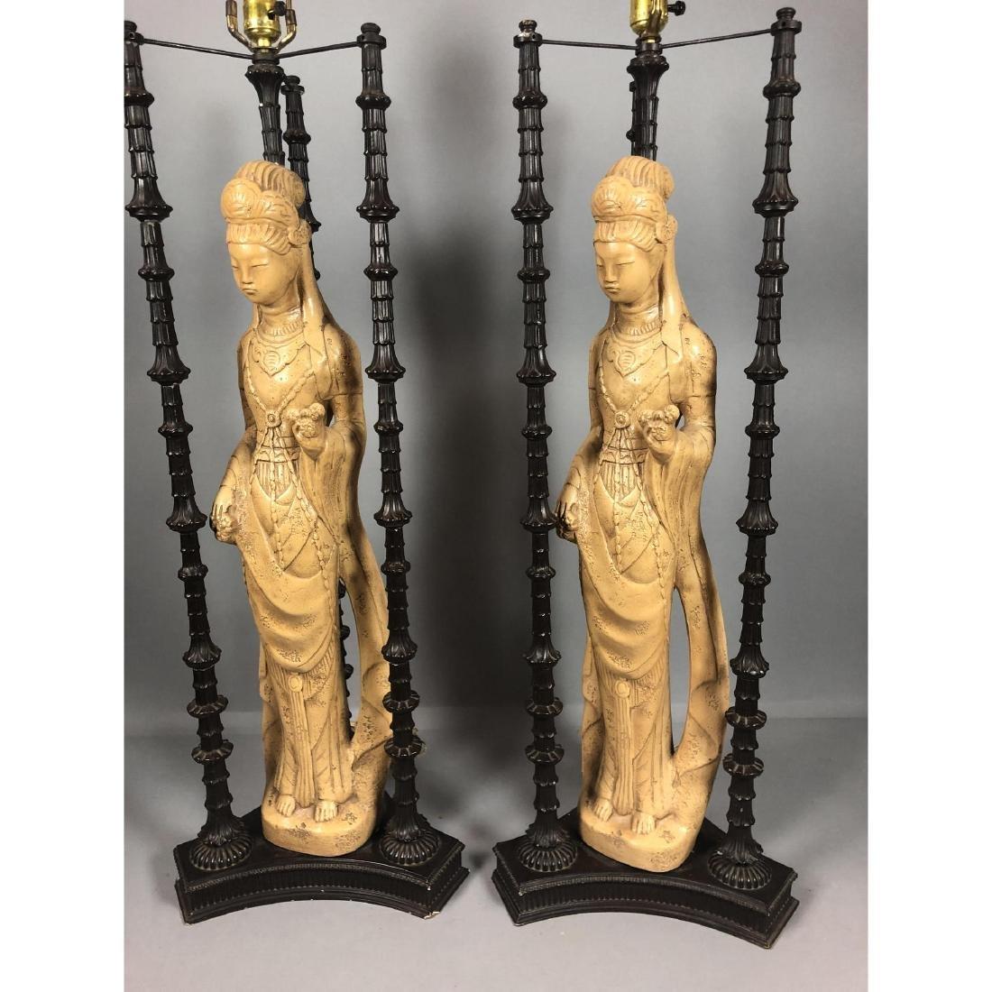 Pr James Mont Style Plaster Metal Figural Lamps.