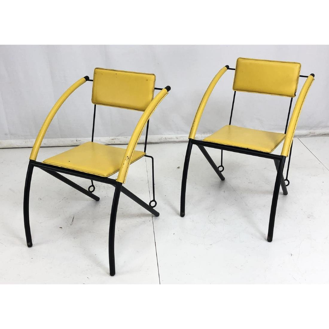 Pr Italian Style Bright Yellow Leather Metal Chai