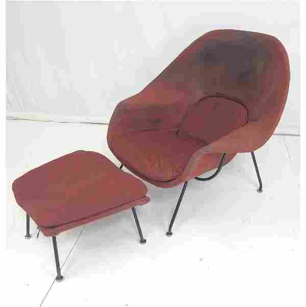 Mid-Century KNOLL Womb Chair & Ottoman. EERO SAAR