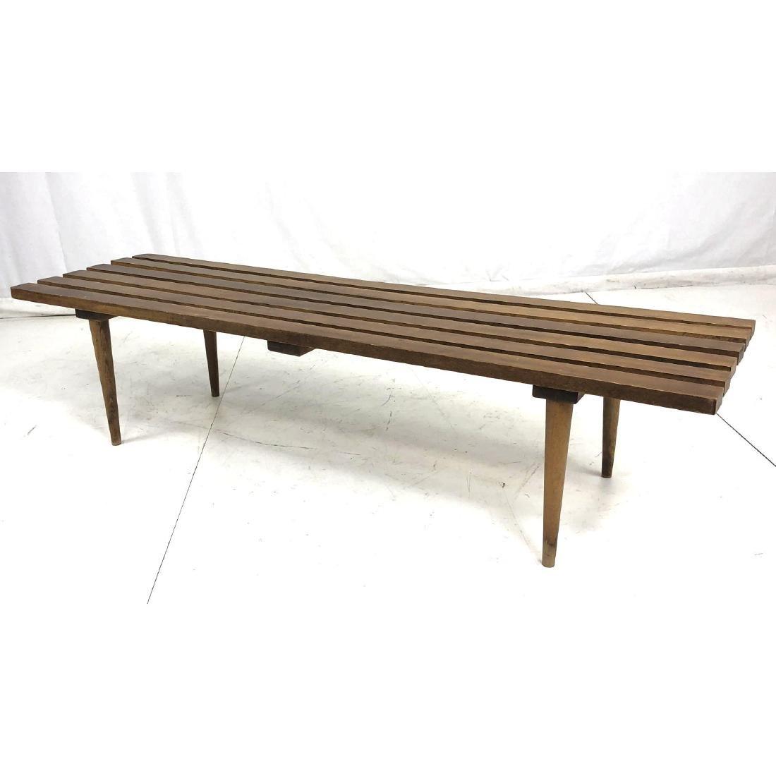 American Modern Walnut Slat Bench Coffee Table. T