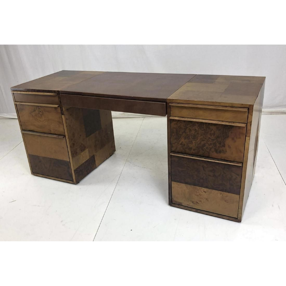 PAUL EVANS Burl Wood Panel Executive Desk. Mosaic