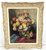 Signed Vintage Still Life Painting Flower Bouquet