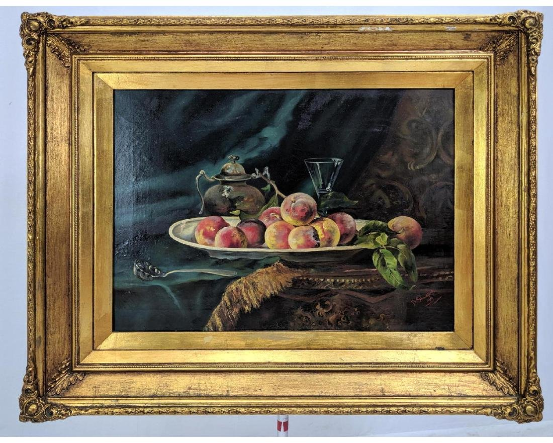 D SHADFORD Still Life Oil Painting Peaches on Bow