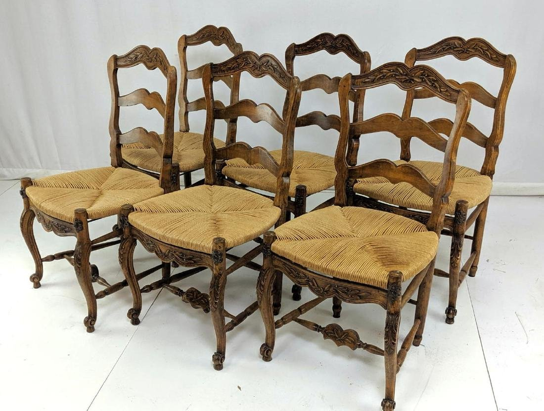 6 French Country Style Carved Oak Dining Chairs.