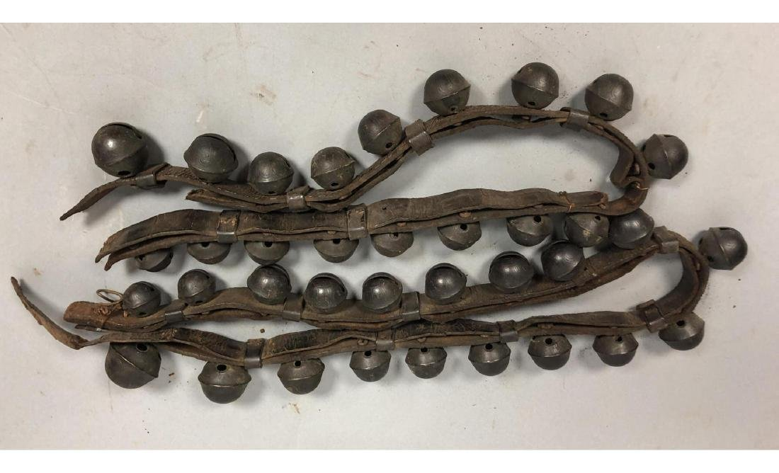 Antique Sleigh Bells on Leather Straps.