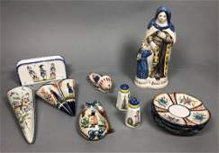 12pc QUIMPER Pottery Includes santo figure wall