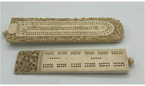 2pc Carved Asian Cribbage Boards. Larger has carv