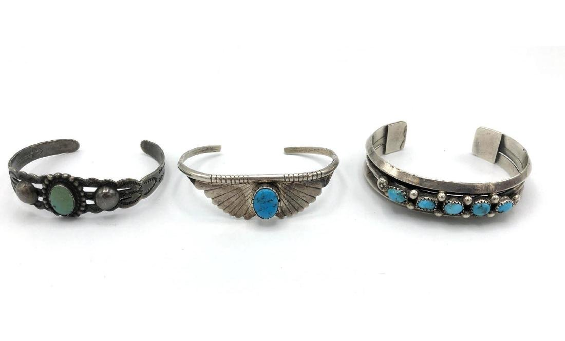 3 Native American Indian Turquoise Cuff Bracelets