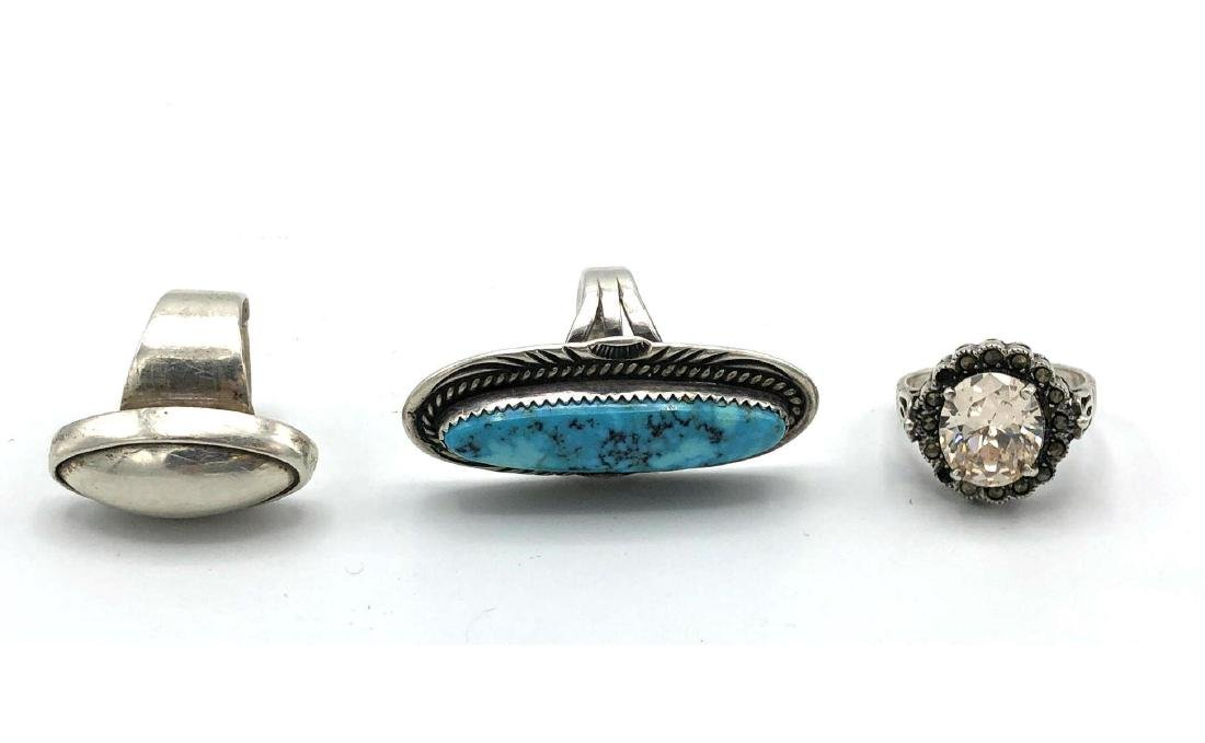3 Sterling Silver Rings. Sterling Indian ring wit
