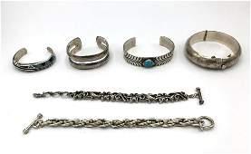 6 pc Sterling Silver Bracelet Lot 2 link bracele