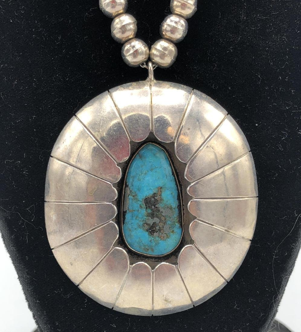 FW Native American Indian Turquoise Pendant Neckl