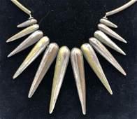 Modernist Artisan Mixed Metals Pendant Necklace