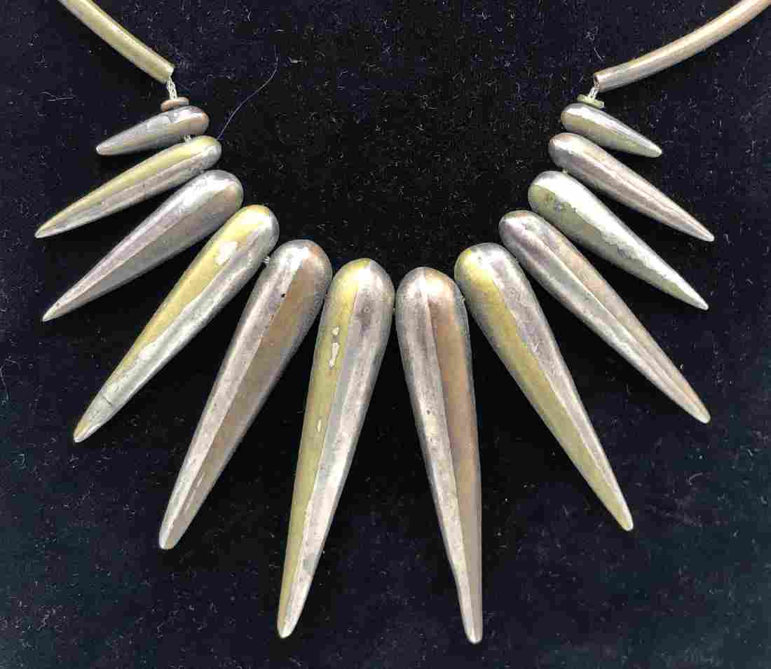 Modernist Artisan Mixed Metals Pendant Necklace.
