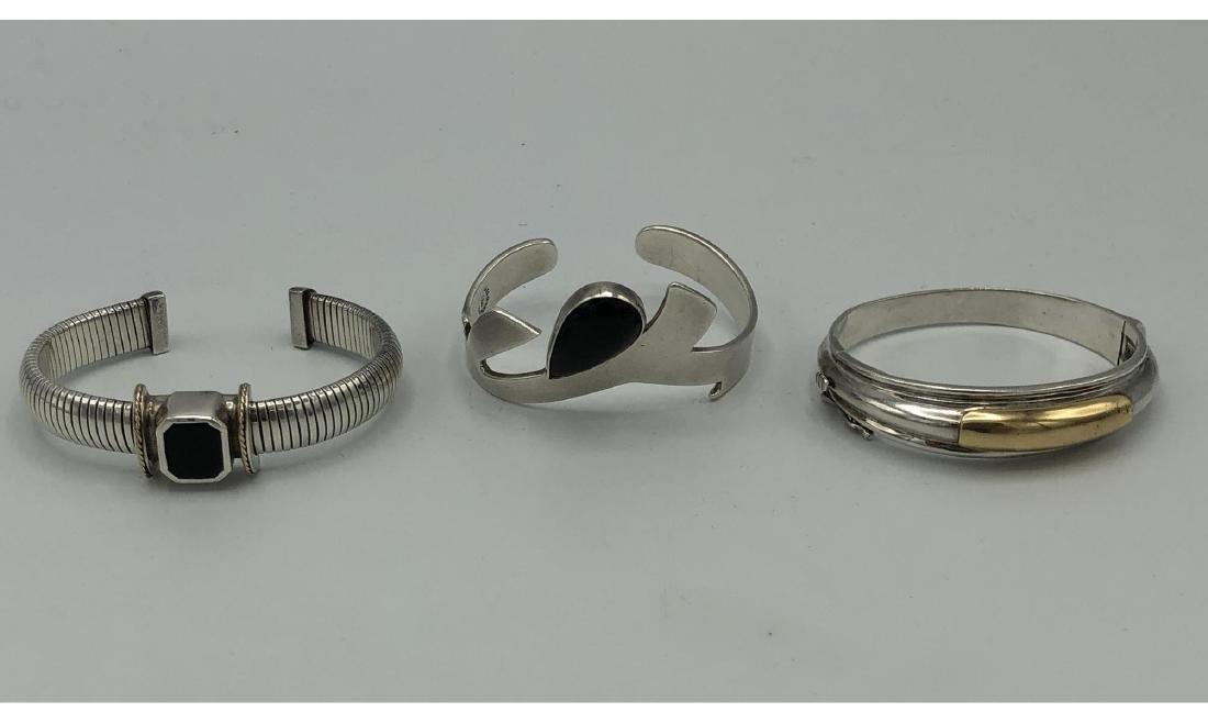 3pc Modernist Sterling Silver Bracelets. Signed N