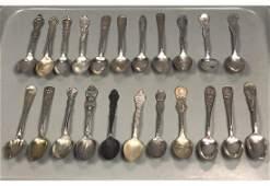 22pc Decorative Sterling Silver Souvenir Spoons
