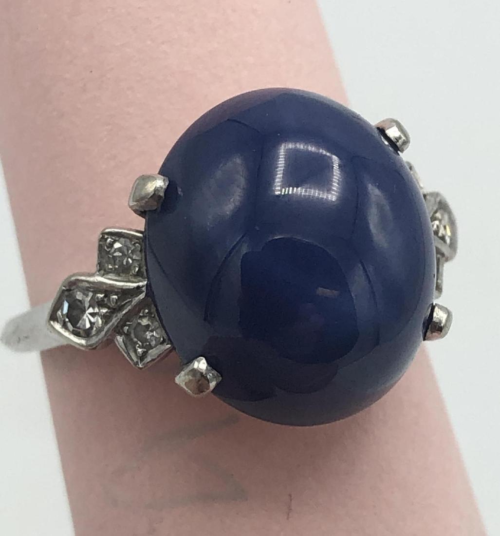 14K White Gold Blue Star Sapphire Diamond Ring, s