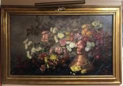 Large Antique Still Life Oil Painting JENNY, Pari