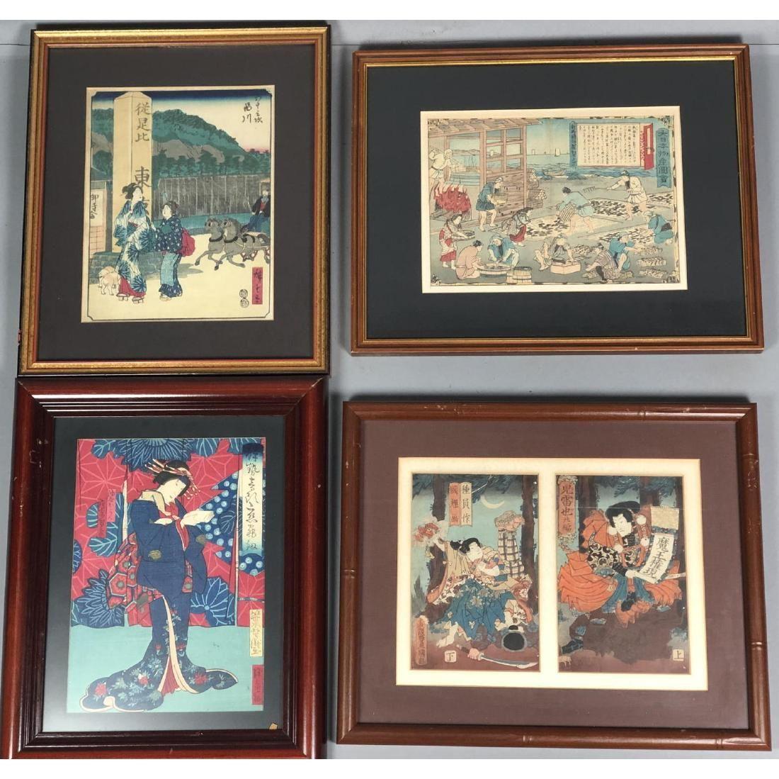 4pc Japanese Wood Block Prints Signed. 2 prints w