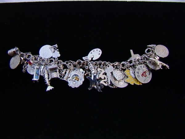 2: Sterling Charm Bracelet 36 charms Elf, Candlestick p