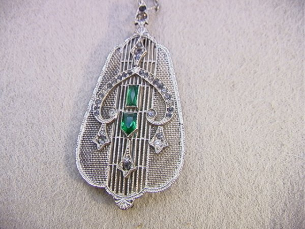 5: Antique Edwardian Pin Pendant w/Green & Clear Stones