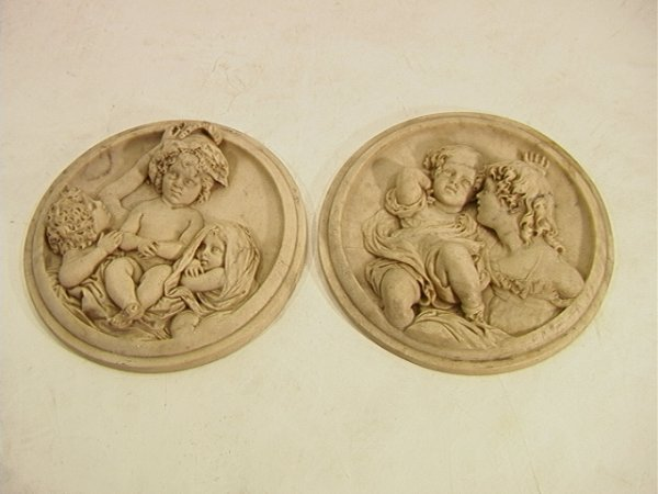 85: Pair Carved Marble Figural Plaques Tondos One circu