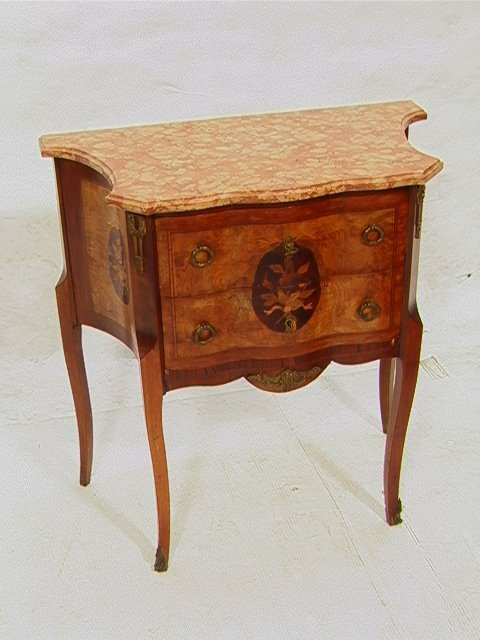 261: Pink Marble top inlaid stand with Ormolu mounted l