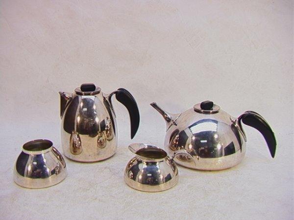 307: Bongusto Italy Chrome and Wood Tea set. Coffee and
