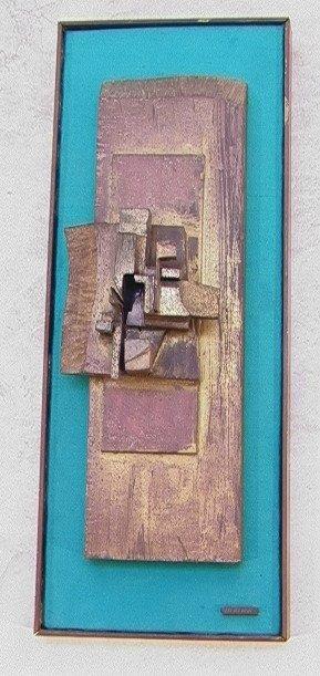 318: J D Neman Brass Modernist Wall sculpture. Small la