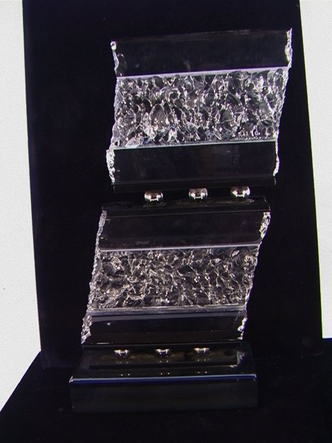 322: Haziza Lucite Acrylic Sculpture.  Black and Clear.
