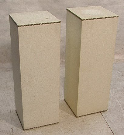 505: Pair Faux Ostrich Skin Covered Pedestals Stands. S