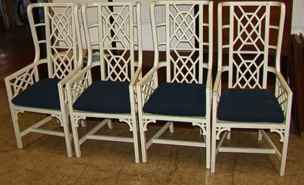 524: Hollywood Regency Dining Chairs.  Painted white wo