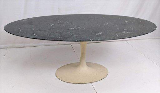 Large Eero Saarinen Marble Top Tulip Dining Table