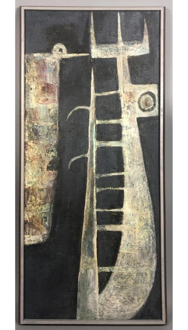 KUMI SUGAI Modernist Abstract Painting on Black T