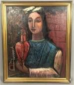 NAHUM TSCHACKBASOV Portrait Lady Holding Bird. Mo